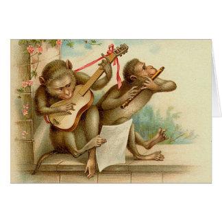 La serenata musical del mono felicitación