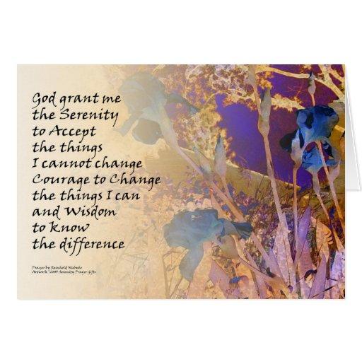 La serenidad irisa el azul y el naranja tarjeta de felicitación