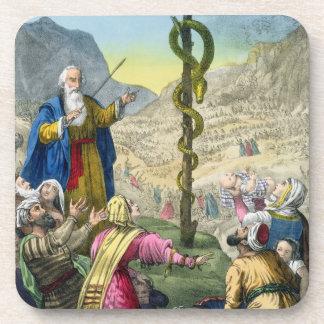 La serpiente descarada, de una biblia impresa por  posavasos de bebida
