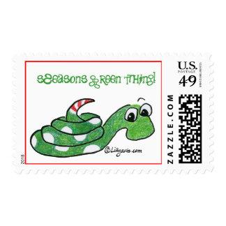 La serpiente sazona franqueo verde de la cosa