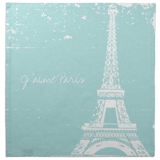 La servilleta de cena azul de la torre Eiffel fijó