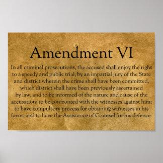 La sexta enmienda a la constitución de los póster