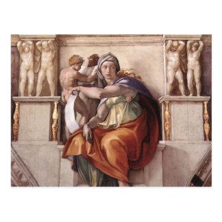 La sibila délfica - capilla de Sistine del fresco Tarjeta Postal