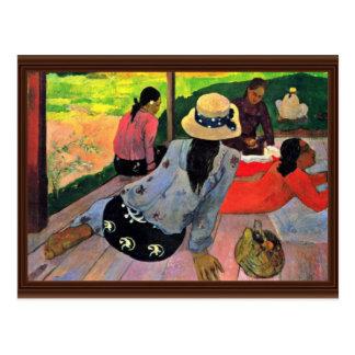 La siesta de Gauguin Paul (la mejor calidad) Postal