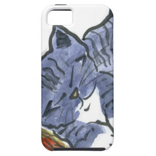 La siesta del azul con la almohada de la bola del  iPhone 5 Case-Mate coberturas