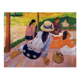 La siesta - postal de Paul Gauguin