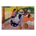La siesta - tarjeta de Paul Gauguin