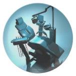 La silla del dentista, ilustraciones del ordenador platos de comidas