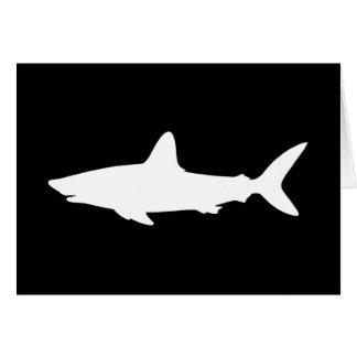 La silueta blanco y negro del tiburón le agradece tarjeta de felicitación
