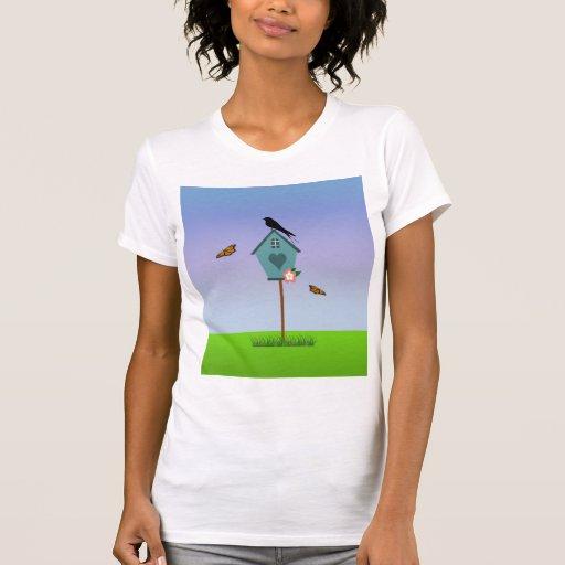 La silueta bonita del pájaro encendido remata un B Tshirts