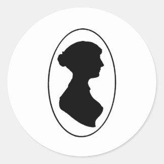 La silueta de Jane Austen Pegatina Redonda
