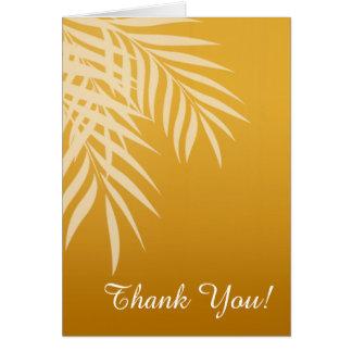 La silueta de la palmera de la playa le agradece tarjeta pequeña