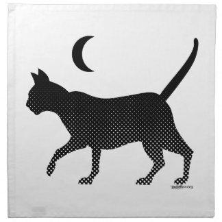 La silueta de un gato bajo la luna servilleta