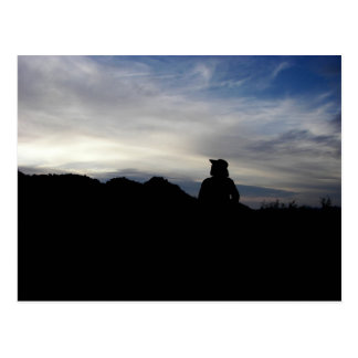 La silueta de un prospector tarjeta postal
