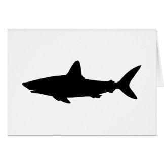 La silueta negra del tiburón le agradece tarjeta de felicitación
