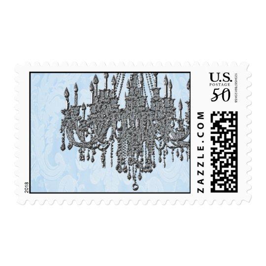 La Silver Sparkle and Damask Blue Chandelier Postage