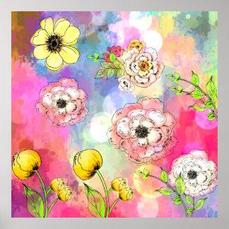 La sinfonía de colores gotea arte de la pintura impresiones