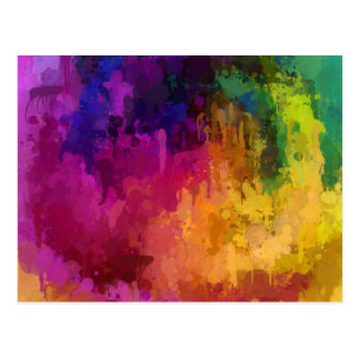 La sinfonía de colores gotea arte de la pintura postal