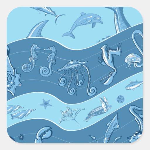 La sinfonía del océano pegatinas cuadradas personalizadas