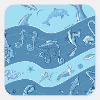 La sinfonía del océano pegatina cuadrada