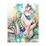 """La """"sirena ama lona envuelta del Seahorse"""" Lienzo Envuelto Para Galerías"""