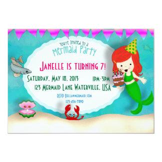 La sirena de la torta personalizada invita invitación 12,7 x 17,8 cm
