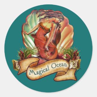 La sirena mágica del océano etiqueta
