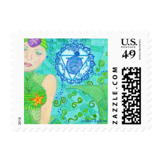 La Sirena Throat Chakra Postage Stamp
