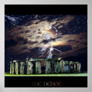 La situación antigua de Stonehenge empiedra arte Póster