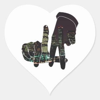 LA skyline hands Heart Sticker
