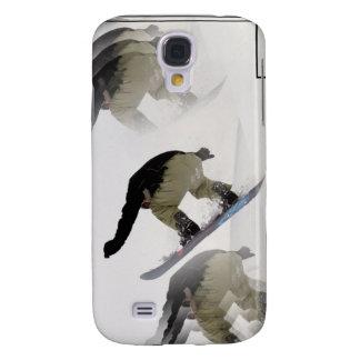 La snowboard cerca la caja del iPhone con barandil