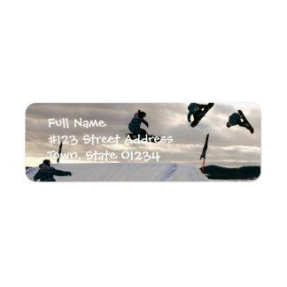 La snowboard engaña la etiqueta del remite etiqueta de remitente