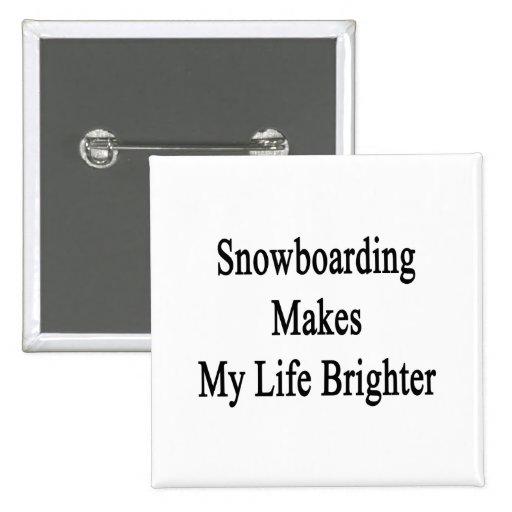 La snowboard hace mi vida más brillante pin