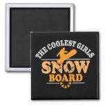 La snowboard más fresca de los chicas iman de nevera