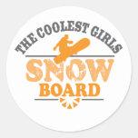La snowboard más fresca de los chicas pegatinas redondas