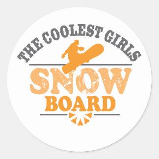 La snowboard más fresca de los chicas pegatina redonda