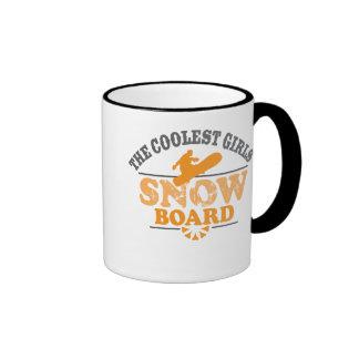 La snowboard más fresca de los chicas taza de dos colores