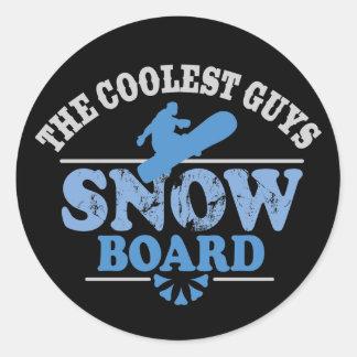 La snowboard más fresca de los individuos pegatina redonda