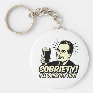 La sobriedad I beberá a ésa Llavero Redondo Tipo Pin