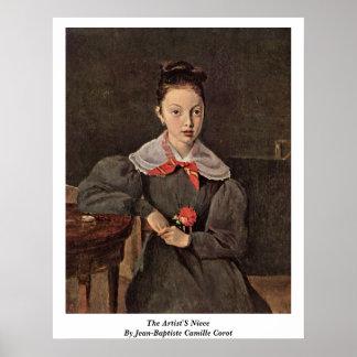 La sobrina de los artistas de Jean-Baptiste Camilo Póster