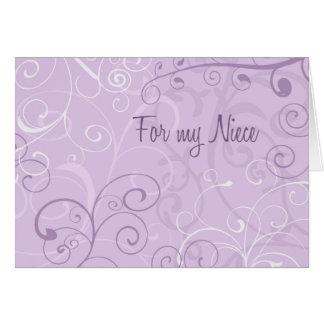 La sobrina púrpura de los remolinos le agradece tarjeta de felicitación