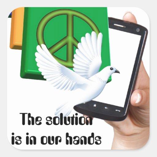 La solución está en nuestras manos pegatina cuadrada