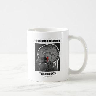 La solución miente dentro de sus pensamientos (la  tazas