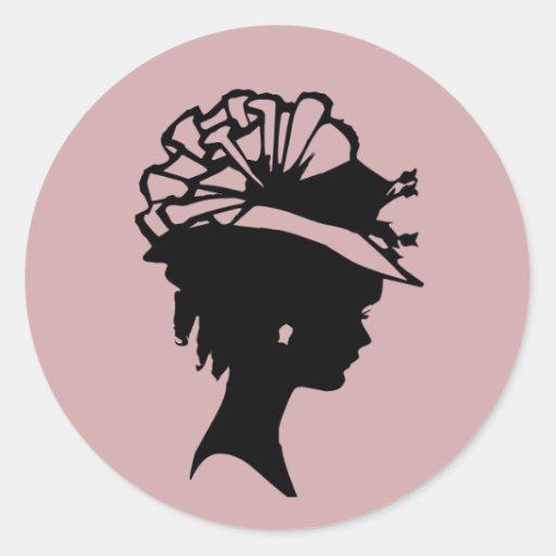La sombrerería 7 se ruboriza la miel rosada    del pegatina redonda