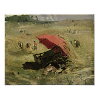La sombrilla roja, c.1860 póster