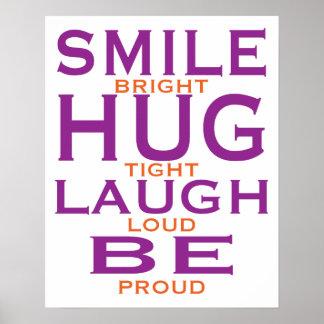 La sonrisa brillante abraza firmemente risa ruid posters