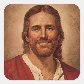 La sonrisa cariñosa del Jesucristo Calcomanías Cuadradass Personalizadas