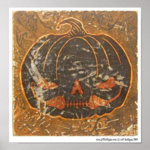 La sonrisa de la calabaza de otoño póster