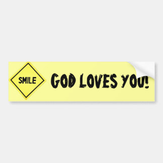 La sonrisa, dios le ama clásico pegatina para auto