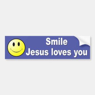 La sonrisa, Jesús le ama Pegatina Para Auto